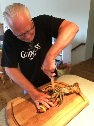 Jim wrestles a live lobster